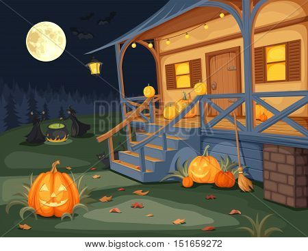Vector illustration of a Halloween night, house with jack-o-lanterns on a terrace and witches brewing a potion under a full moon.