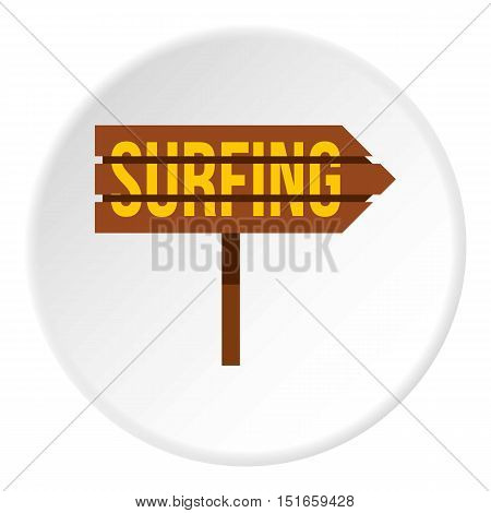 Surfing direction sign icon. Flat illustration of sign vector icon for web design