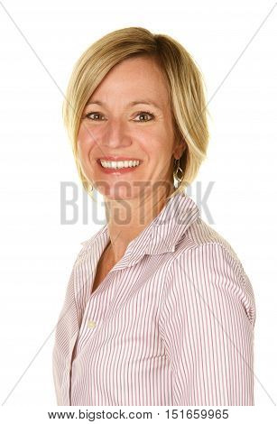 Beautiful,slim,blonde woman in her early forties on a white background.