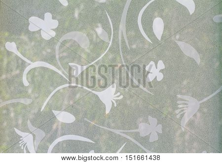 Flower pattern on Background corrugated glass use for background