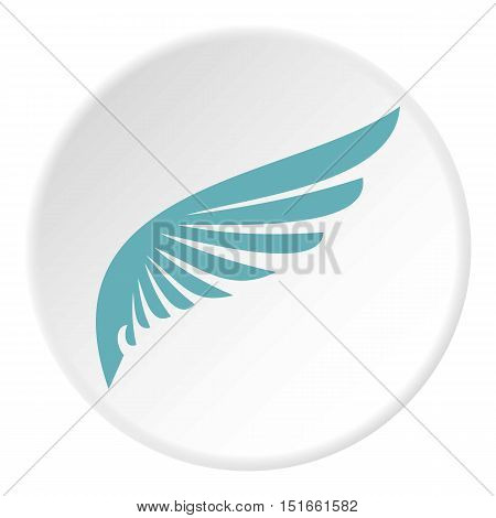 Blue wing icon. Flat illustration of blue wing vector icon for web
