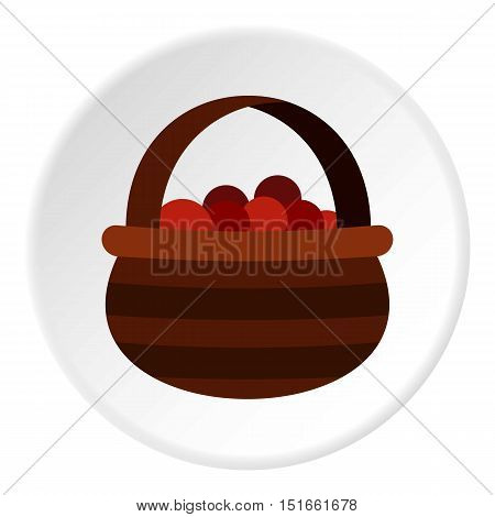 Basket of berries icon. Flat illustration of basket of berries vector icon for web