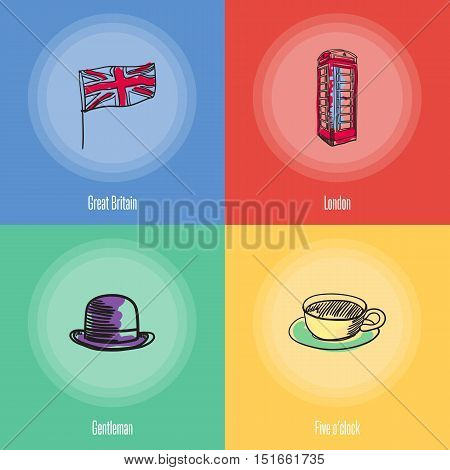 British cultural, political, architectural symbols. Union Jack flag, phone box, cup of tea, bowler hat doodle vector icons with caption on colored backgrounds. Country concept for travel company ad. England vector art. England travel symbols.