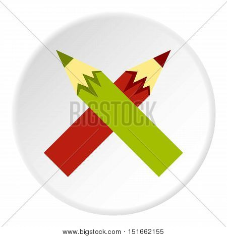 Colored pencils icon. Flat illustration of colored pencils vector icon for web