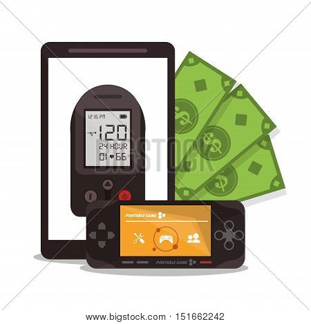 Videogame smartphone and bills icon. Payment shopping commerce and merket theme. Colorful design. Vector illustration