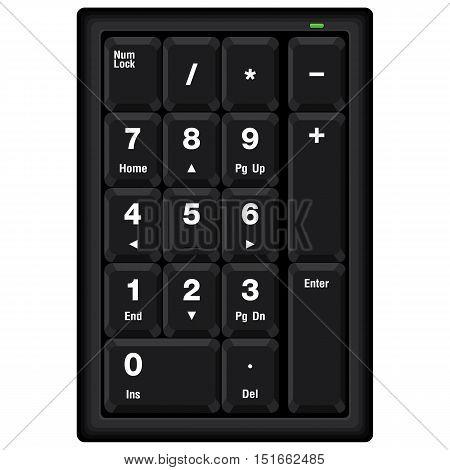 Computer numeric keyboard isolated on white background.