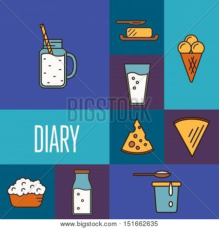 Assortment of different dairy products, isolated square composition on color background, vector illustration in line style design. Traditional and healthy products. Organic farming. Natural food