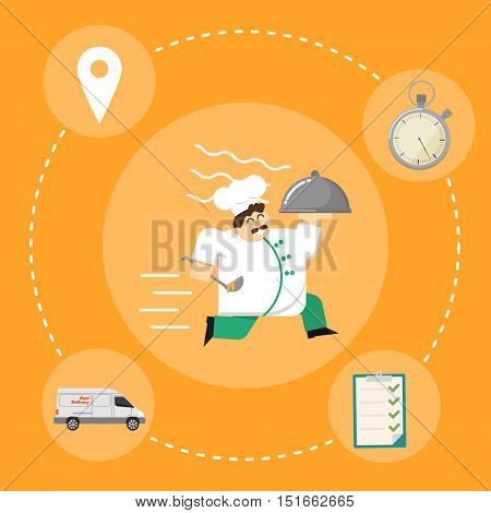 Chef in white uniform running with restaurant cloche isolated on orange background. Fast food delivery design, vector illustration. Shipping and moving concept with delivery icons. Courier service.