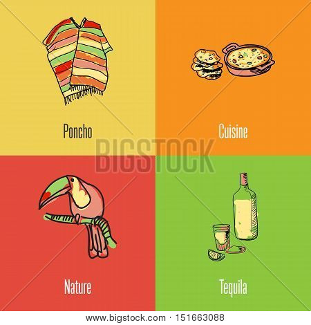 Mexican food. Mexico national symbols. Poncho, lechoh and tortilla, bottle of tequila, tucan bird colored hand drawn doodles vector icons. Mexican travel concept. Mexican art. Travel to Mexico concept. Discover Mexico. Flyer of Mexico for travel agency or