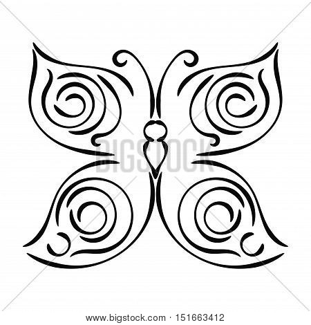 Linear curly black hand drawn butterfly isolated on white background. Sketch butterfly icon. Vector illustration.