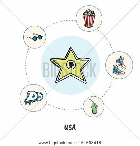 Attractive USA. Hollywood star colored doodle surrounded sneakers, popcorn bucket, star sunglasses, graffiti, soda hand drawn vector icons. American mass culture symbols. Travel in United States