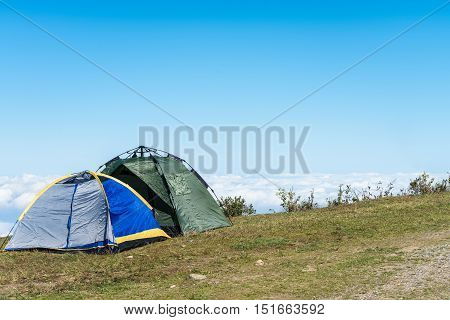 camping tents and the sea of clouds at jiugong mountain hubei provinceChina