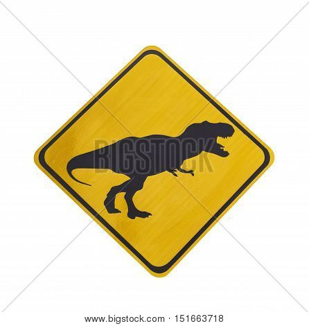 Yellow traffic label with dinosaur pictogram isolated on white with clipping path