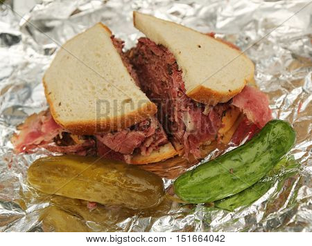 Famous Pastrami on rye sandwich in New York Deli