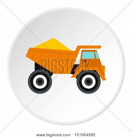 Machinery with sand icon. Flat illustration of machinery with sand vector icon for web
