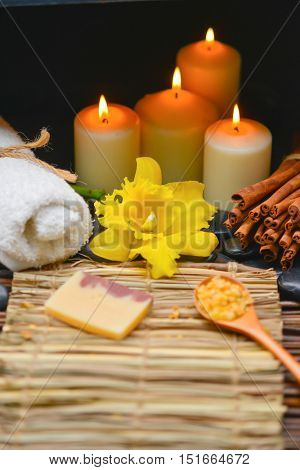 Spa setting with mat texture