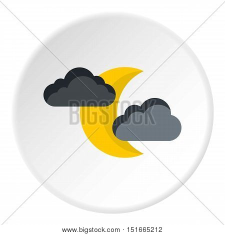 Crescent moon and clouds icon. Flat illustration of crescent moon and clouds vector icon for web