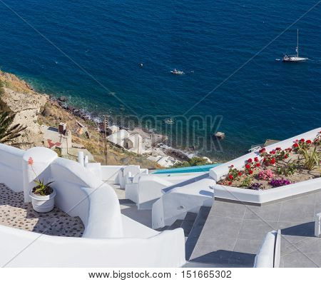 Traditional style stairway to the sea of Santorini Greece