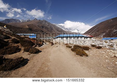 KHUMBU, EVEREST REGION - MARCH 31, 2014: Traditional teahouse in Dingboche village on the way to Everest base campEverest base camp.