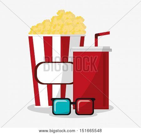 Pop corn soda and 3d glasses icon. Cinema movie video film and entertainment theme. Colorful design. Vector illustration