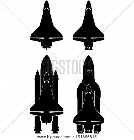 Contours of the space shuttles. The illustration on a white background.