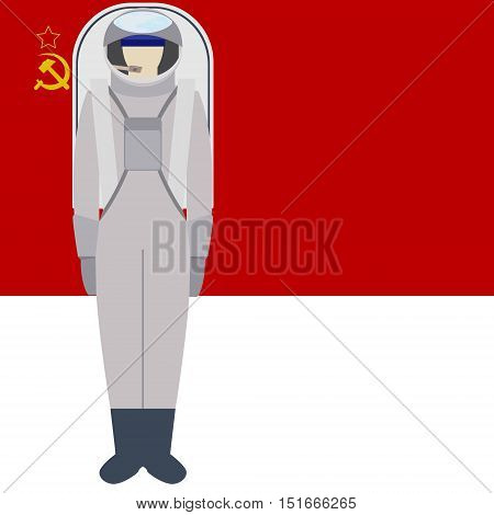 Space suit on background of the flag. The illustration on a white background.