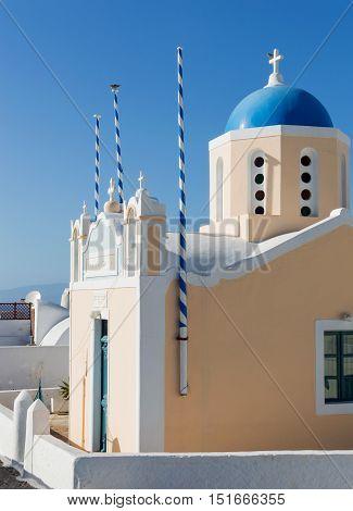 Beautiful Blue and Yellow Church in Fira Santorini Greece