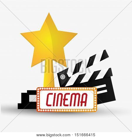 Clapboard and star trophy icon. Cinema movie video film and entertainment theme. Colorful design. Vector illustration