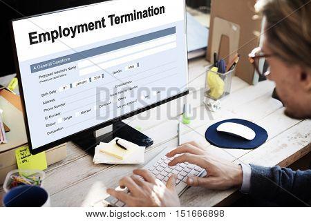 Employment Termination Form Document Concept