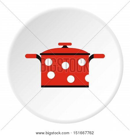 Pot with red polka dots icon. Flat illustration of pot with red polka dots vector icon for web