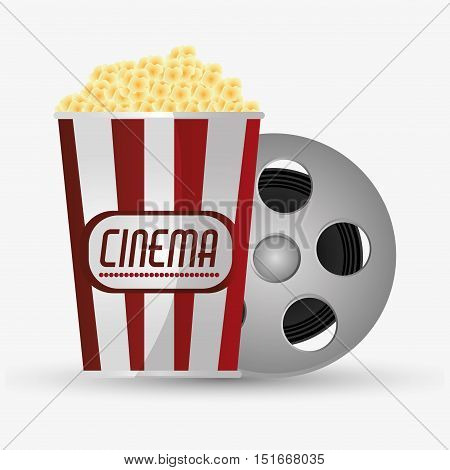 Film reel and pop corn icon. Cinema movie video film and entertainment theme. Colorful design. Vector illustration