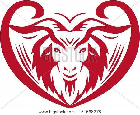 Illustration of a cashmere goat head viewed from front set inside heart shape on isolated white background done in retro style.