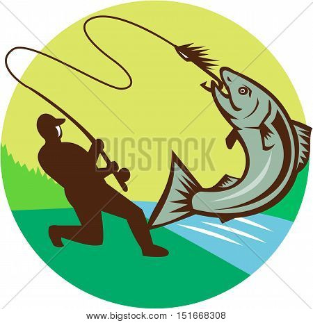 Illustration of a fly fisherman fishing casting rod and reel hooking salmon viewed from the side set inside circle with river sea in the background done in retro style
