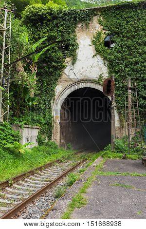 Railroad Tunnel Psyrtsha Station In New Athos