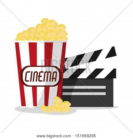Pop corn and clapboard icon. Cinema movie video film and entertainment theme. Colorful design. Vector illustration