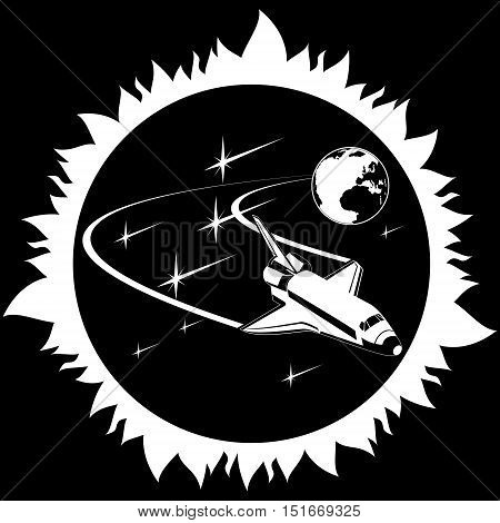 Space shuttle in outer space. The illustration on a black background.