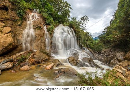 Large Waterfall In The Rainy Season; The Village Cat Cat Brightness Sapa, Vietnam.