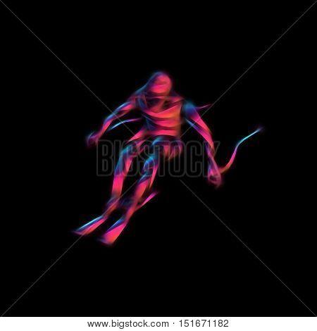 Ski downhill. Creative silhouette of the skier. Giant Slalom Ski Racer. Color illustration