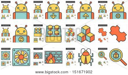 Programming vector line icon set isolated on white background. Programming line icon set for infographic, website or app. Scalable icon designed on a grid system.