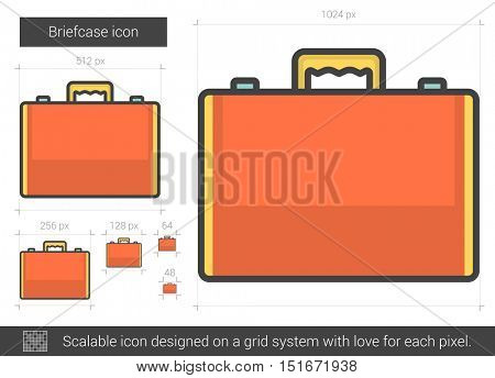 Briefcase vector line icon isolated on white background. Briefcase line icon for infographic, website or app. Scalable icon designed on a grid system.