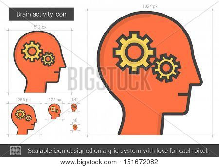 Brain activity vector line icon isolated on white background. Brain activity line icon for infographic, website or app. Scalable icon designed on a grid system.