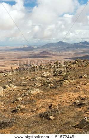 Volcanic Lanscape. Panoramic view on Fuerteventura from Mirador Morro Velosa Fuerteventura Canary Island Spain