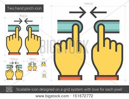 Two hand pinch vector line icon isolated on white background. Two hand pinch line icon for infographic, website or app. Scalable icon designed on a grid system.