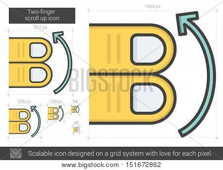 Two-finger scroll up vector line icon isolated on white background. Two-finger scroll up line icon for infographic, website or app. Scalable icon designed on a grid system.
