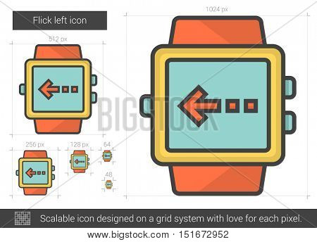 Flick left vector line icon isolated on white background. Flick left line icon for infographic, website or app. Scalable icon designed on a grid system.