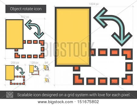 Object rotate vector line icon isolated on white background. Object rotate line icon for infographic, website or app. Scalable icon designed on a grid system.
