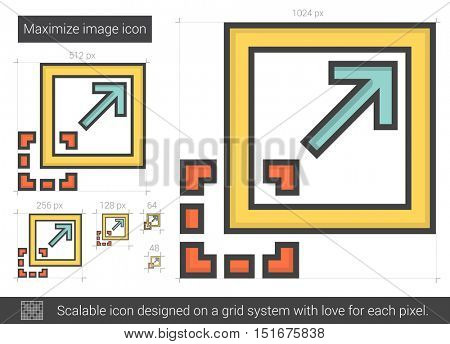 Maximize image vector line icon isolated on white background. Maximize image line icon for infographic, website or app. Scalable icon designed on a grid system.