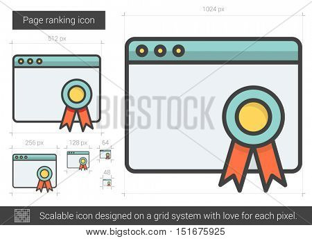 Page ranking vector line icon isolated on white background. Page ranking line icon for infographic, website or app. Scalable icon designed on a grid system.