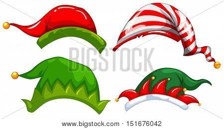 Different designs of jester hat illustration