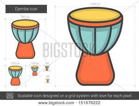 Djembe vector line icon isolated on white background. Djembe line icon for infographic, website or app. Scalable icon designed on a grid system.
